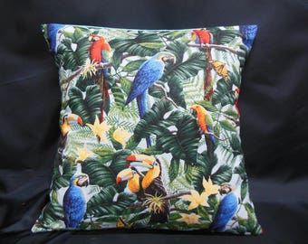 Parrots on light blue background (C292), square Cushion cover