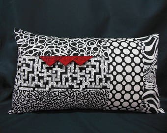 Rectangular Cushion cover, patchwork, black, white fashion, red (C369R)