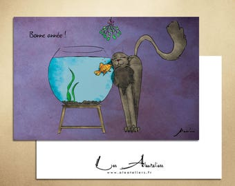 Fish and cat - funny greeting card