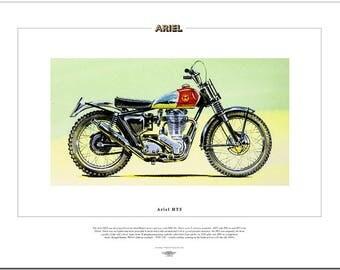ARIEL HT5 - Motor Cycle Fine Art Print - 500cc 4-stroke Sammy Miller trials bike