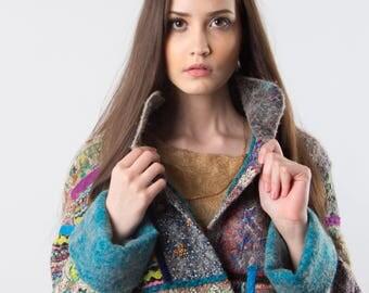 Woolen coat in the patchwork style of handmade