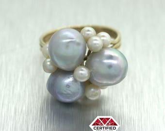 Vintage Solid 14k Yellow Gold Freshwater Pearl Cluster Ring 4.7g