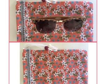 Floral drawstring sunglasses case