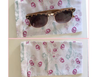 Bird and Floral drawstring sunglasses case