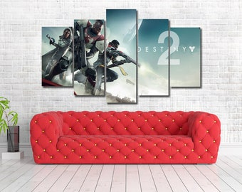 Destiny 2 Gaming Framed Canvas Print - Wall Art - Multi Panel - 5 Panel Canvas Print - Art Work - Home Decor