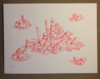 Pebbles II: drawing in red pencil on watercolor paper.