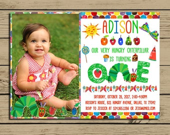 The Very Hungry Caterpillar Invitation * Very Hungry Caterpillar  Birthday Party Invite With Photo * Free Backside *Personalized * YOU PRINT