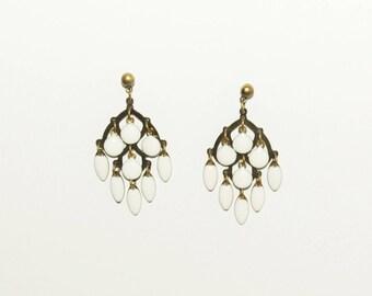 White enameled pendants earrings