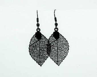 Black autumn leaves earrings