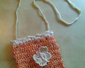 girls ' cotton crochet purse with shoulder strap Butterfly
