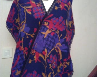 Scarf in mohair, acrylic and lace printed fabric
