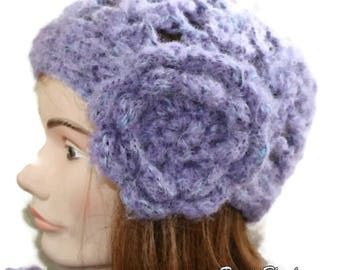 Beanie woman hat crochet purple color.