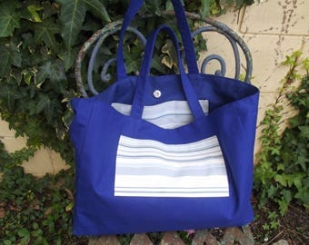 royal blue for this large bag of cotton and linen