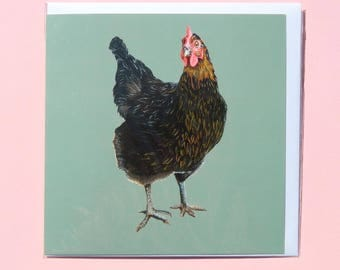 Olive Chicken Greetings Card