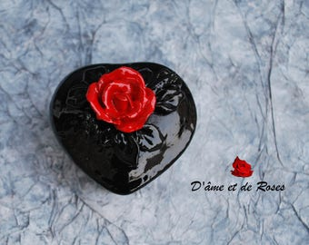 small box black heart a red rose