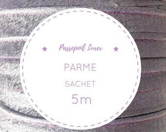 5 m purple lurex piping bag