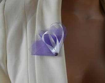 Boutonniere - wedding brooch - purple plum and white