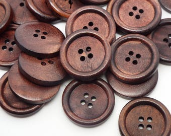 Large Dark Wooden Round 4 hole Buttons 25mm