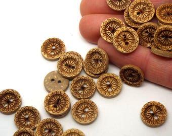 Mandala 2 Hole Coconut Small Round Buttons 12mm, Pack of 8