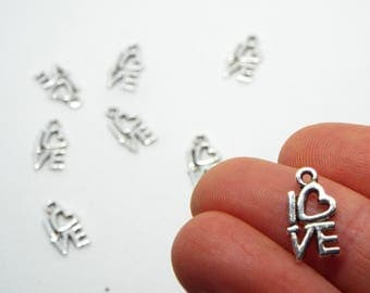 Small LOVE Charm 14 x 8mm, Silver Coloured