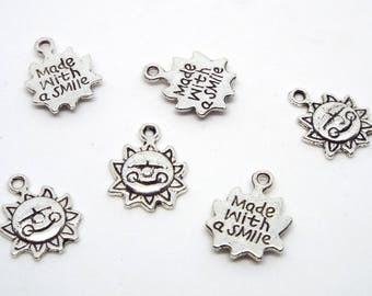 Sun Charm double sided with 'Made with a smile' on reverse, Silver Coloured Charm