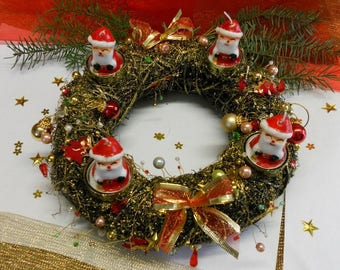 Christmas Wreath / candle with Garland of red/gold coloured beads