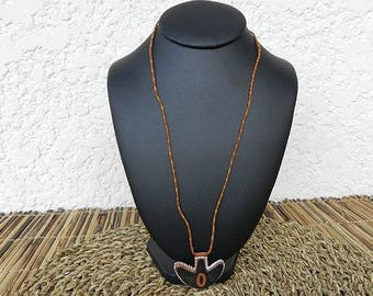 "Pendant ""initial""O""leather cord necklace"