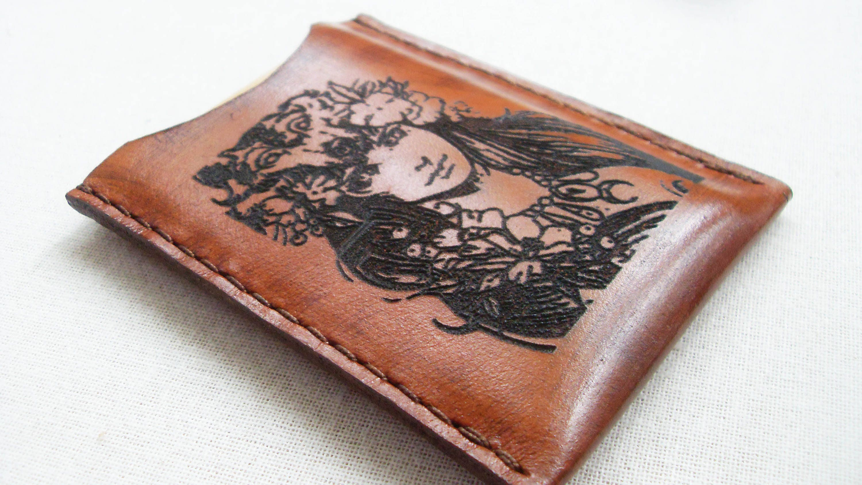 Leather wallet,Leather Card Sleeve, wallet, FREE MONOGRAM, business ...