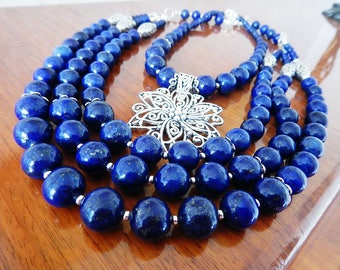 Lapis lazuli handmade necklace with earrings