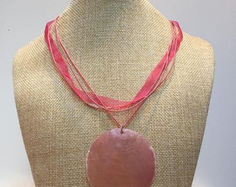 Pink tinted organza cord necklace jewelry