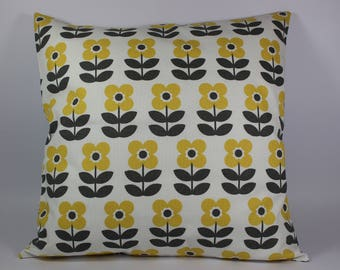 Square Cushion cover, yellow and gray flowers.
