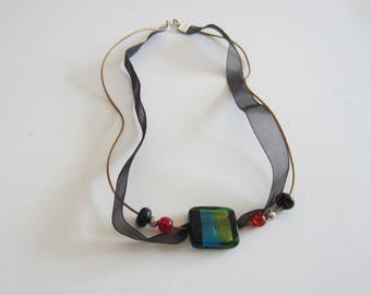 Necklace with a Lampwork bead square turquoise - black