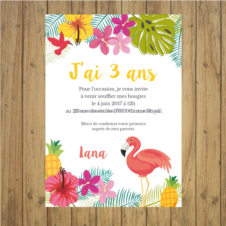 Très Carte invitation anniversaire tropical TP85