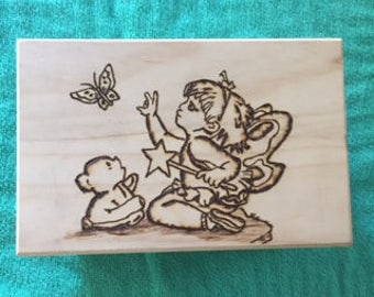 Wooden Jewelry Box, Trinket Box, TeddyBear, Butterfly, Fairy
