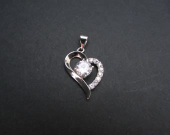 Sterling Silver heart shape with Rhinestones