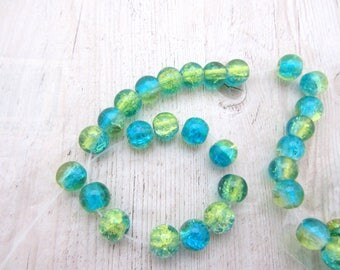 Lot of 10 glass cracked round beads 8mm green and blue, round beads, glass cracked beads,blue and green beads