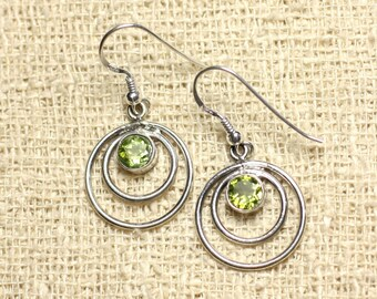 BO202 - circles 19mm faceted Peridot 925 Sterling Silver earrings