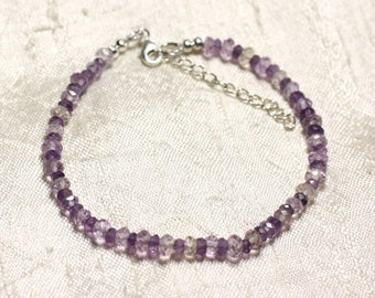 Bracelet 925 sterling silver and Amethyst stones and 3-5mm Ametrine