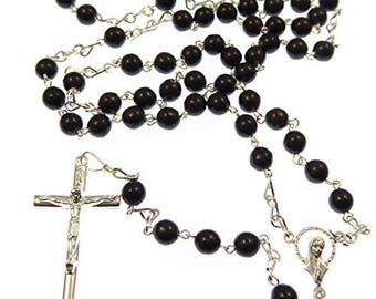 Large silver Rosary necklace with 6mm black glass beads