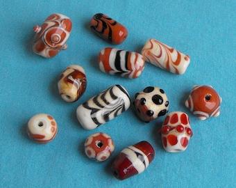 set of PERL.0312 Murano glass beads