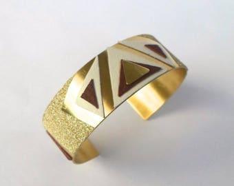 Gold plated cuff style ethnic patterns geometric leather triangles