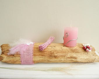 Romantic table centerpiece, candle holder Driftwood girly feather bundle and pink flowers