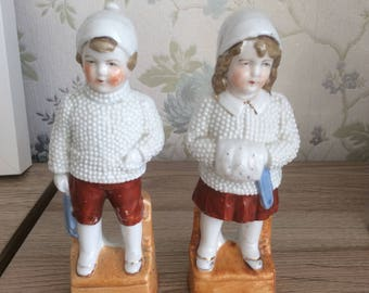 Gorgeous highly collectible German Victorian Snow Children Figurines in the style of Heubach/German Snow baby figurines/German Collectables