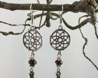 Dream catcher and feather Silver earrings, glass bead