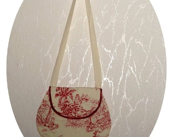 Toile de jouy fabric tote bag