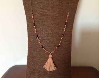 Necklace beads, Garnet, Bohemian bronze chain tassel