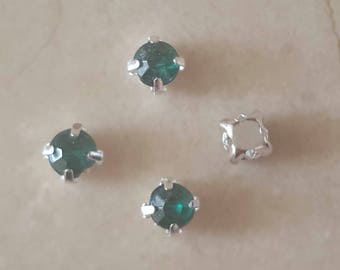 set of 50 rhinestone appliques Green 5 mm