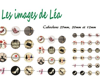 Mode: print of digital images for cabochons 25mm, 20mm and 12mm