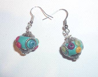 The ethnic style, colorful, multicolor earrings
