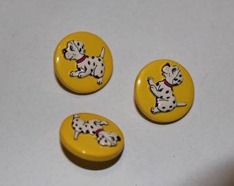 Fancy children patterned button yellow Dalmatian dog